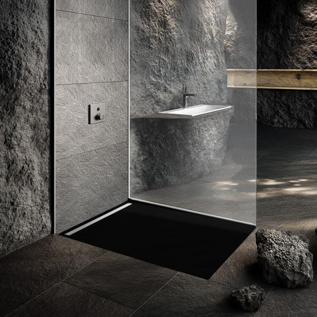 Kaldewei Nexsys Bodenebene Duschfläche Komplett-Set schwarz, mit Perl-Effekt, mit normalem Ablauf