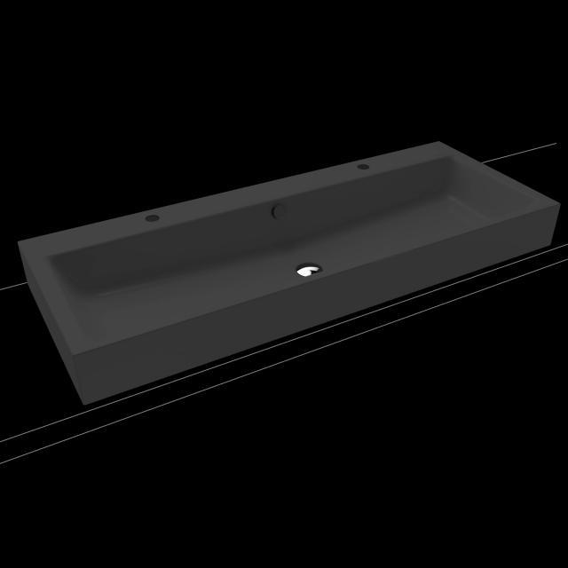 Kaldewei Puro Doppel-Aufsatzwaschtisch schwarz matt, mit 2 Hahnlöchern