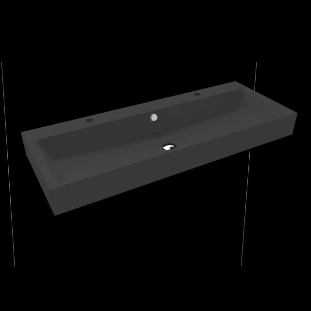 Kaldewei Puro Doppelwaschtisch schwarz matt, mit 2 Hahnlöchern