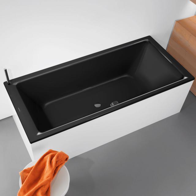 Kaldewei Puro Duo Rechteck-Badewanne, Einbau schwarz mit Perl-Effekt