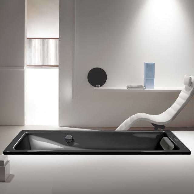 Kaldewei Puro & Puro Star Rechteck-Badewanne mit seitlichem Überlauf, Einbau Antislip, schwarz
