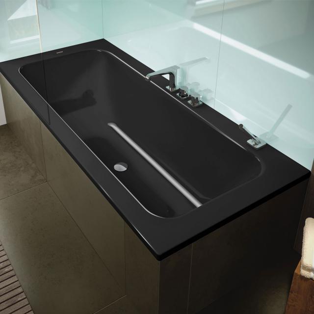 Kaldewei Puro Set Wide Rechteck-Badewanne, Einbau schwarz