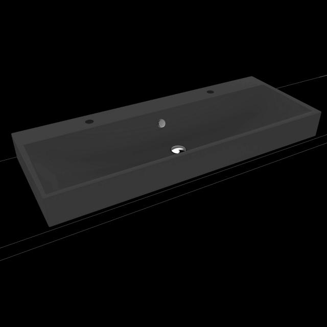 Kaldewei Silenio Doppel-Aufsatzwaschtisch cool grey 90, mit 2 Hahnlöchern, mit Überlauf