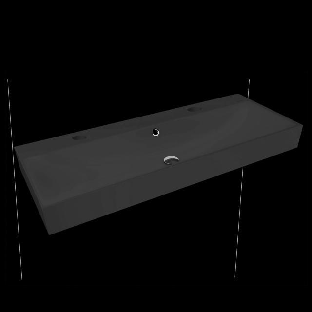 Kaldewei Silenio Doppelwaschtisch cool grey 90, mit 2 Hahnlöchern, mit Überlauf