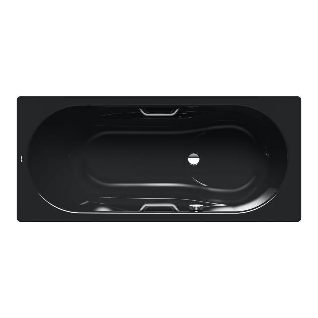 Kaldewei Vaio Set & Vaio Set Star Rechteck-Badewanne mit Duschzone, Einbau schwarz, für Griffmontage