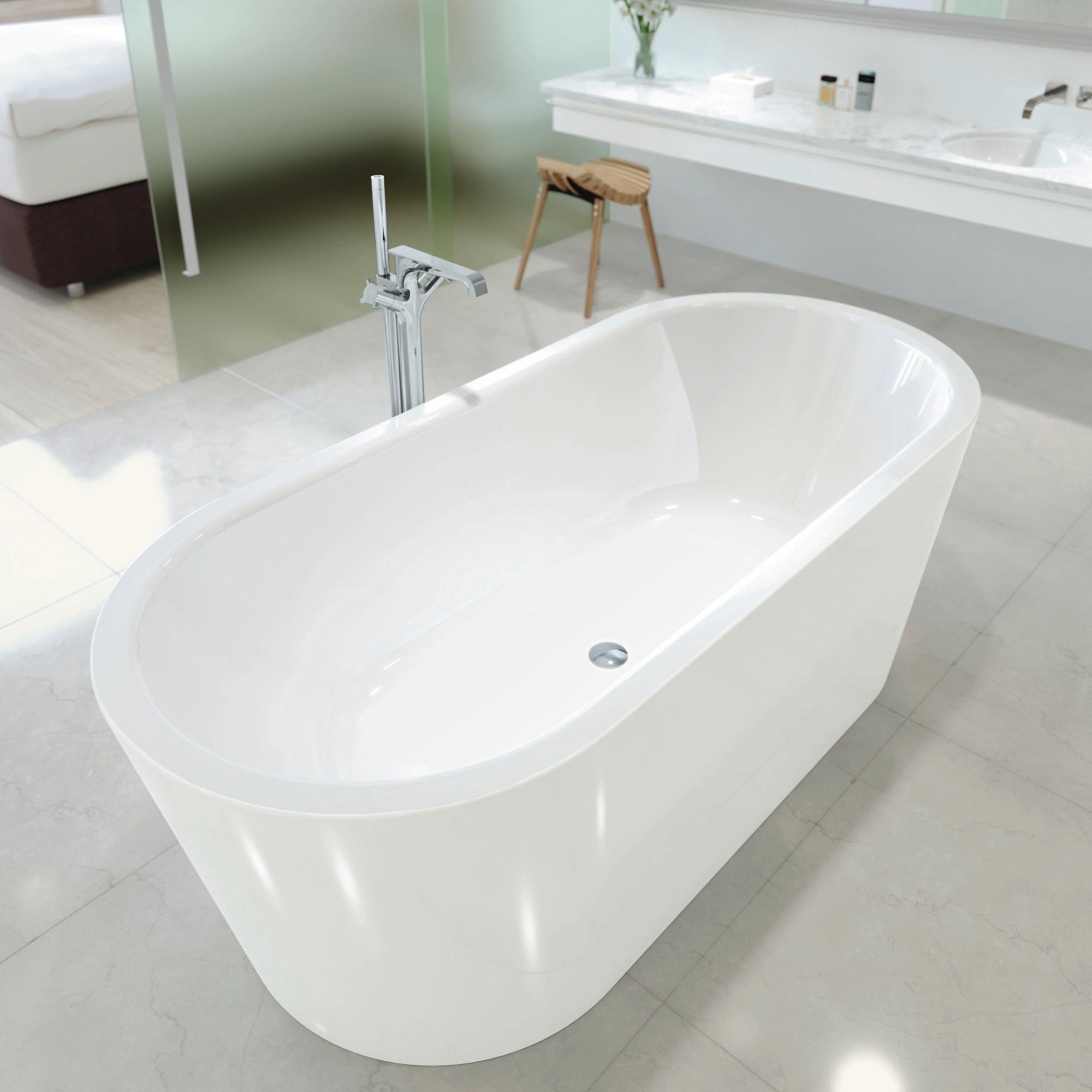 Kaldewei Meisterstück Classic Duo Oval Freistehende Oval Badewanne weiß,  mit Ablaufgarnitur, ohne Füllfunktion