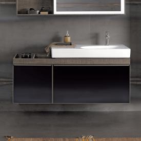 Geberit Citterio Waschtischunterschrank Front schwarz / Korpus graubraun