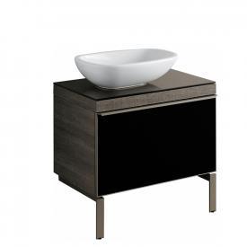 Geberit Citterio Waschtischunterschrank mit Glasplatte Front schwarz / Korpus graubraun