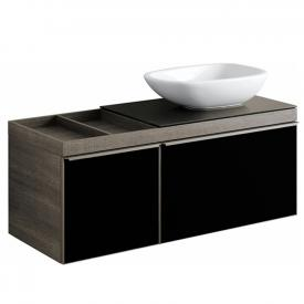 Geberit Citterio Waschtischunterschrank für Aufsatzwaschtisch mit Glasplatte Front schwarz / Korpus graubraun