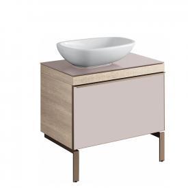 Geberit Citterio Waschtischunterschrank für Aufsatzwaschtisch mit Glasplatte Front taupe / Korpus naturbeige
