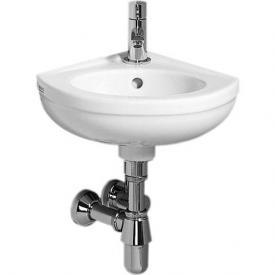 Geberit Fidelio Eck-Handwaschbecken mit Überlauf weiß, mit KeraTect