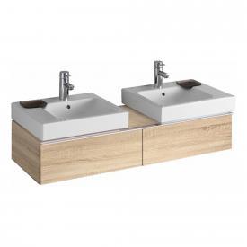 Geberit iCon Waschtischunterschrank mit 2 Auszügen für 2 Aufsatzwaschtische Front eiche natur/Korpus eiche natur