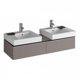 Geberit iCon Waschtischunterschrank mit 2 Auszügen für 2 Aufsatzwaschtische Front und Korpus Platin hochglanz