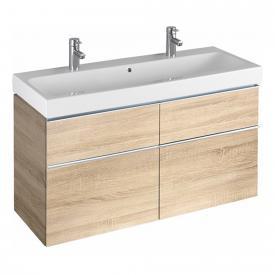 Geberit iCon Waschtischunterschrank mit mittigem Siphonausschnitt für Doppelwaschtisch Front eiche natur/Korpus eiche natur