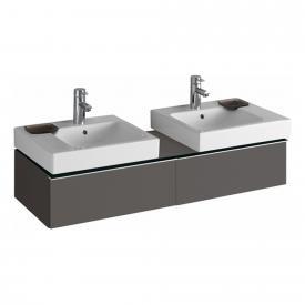 Geberit iCon Waschtischunterschrank mit 2 Auszügen für 2 Aufsatzwaschtische Front lava matt/Korpus lava matt