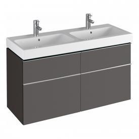 Geberit iCon Waschtischunterschrank mit 4 Auszügen für Doppelwaschtisch Front lava matt/Korpus lava matt