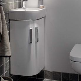 Geberit Renova Compact Eckhandwaschbecken-Unterschrank Front weiß hochglanz / Korpus weiß matt