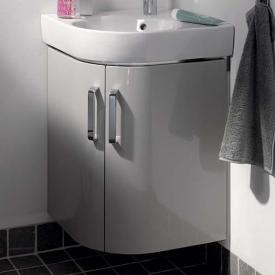 Geberit Renova Compact Waschtischunterschrank für Eckhandwaschbecken mit 2 Türen Front hellgrau hochglanz / Korpus hellgrau matt