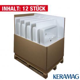 Geberit Renova Plan Waschtisch, 12 Stück weiß, mit KeraTect mit 1 Hahnloch mit Überlauf