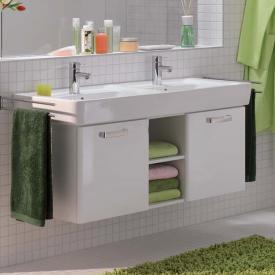 Geberit Renova Plan Waschtischunterschrank für Doppelwaschtisch mit 2 Türen und offenem Fach Korpus: weiß, Front: weiß hochglanz