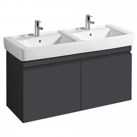 Geberit Renova Plan Waschtischunterschrank für Doppelwaschtisch mit 2 Auszügen Front und Korpus lava matt