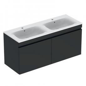 Geberit Renova Plan Waschtischunterschrank für Doppelwaschtisch mit 2 Auszügen Front lava matt/Korpus lava matt