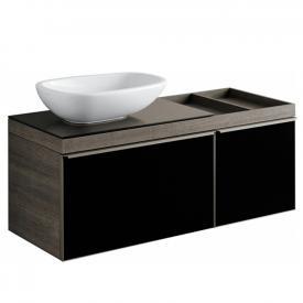 Keramag Citterio Waschtischunterschrank mit Glasplatte Front schwarz / Korpus graubraun