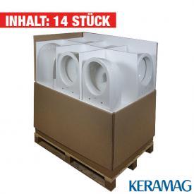 Keramag iCon Tiefspül-WC, 6 l, wandhängend, L: 53 B: 35,5 cm, 14 Stück weiß mit KeraTect