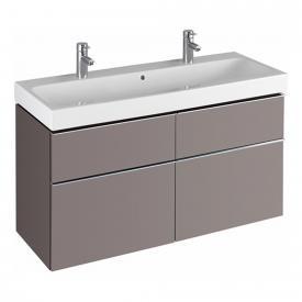 Keramag iCon Waschtischunterschrank mit mittigem Siphonausschnitt für Doppelwaschtisch Front und Korpus Platin hochglanz