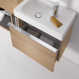 Keramag iCon xs Handwaschbecken-Unterschrank mit 1 Auszug Front und Korpus Holzstruktur eiche natur