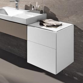 Keramag Xeno² Seitenschrank mit 1 Auszug und 1 Schublade Front weiß hochglanz/Korpus weiß hochglanz