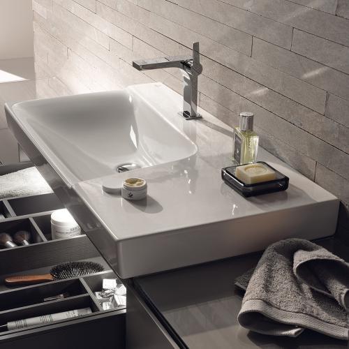 keramag xeno waschtisch mit ablagefl che wei mit 1 hahnloch 127190000 reuter. Black Bedroom Furniture Sets. Home Design Ideas