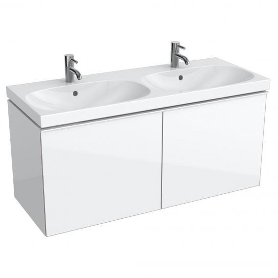 Geberit Acanto Waschtischunterschrank mit 2 Schubladen Front weiß/Korpus weiß hochglanz