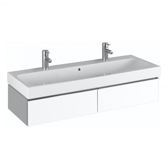 Geberit iCon Waschtischunterschrank mit 2 Auszügen für Doppelwaschtisch Front und Korpus Alpin hochglanz