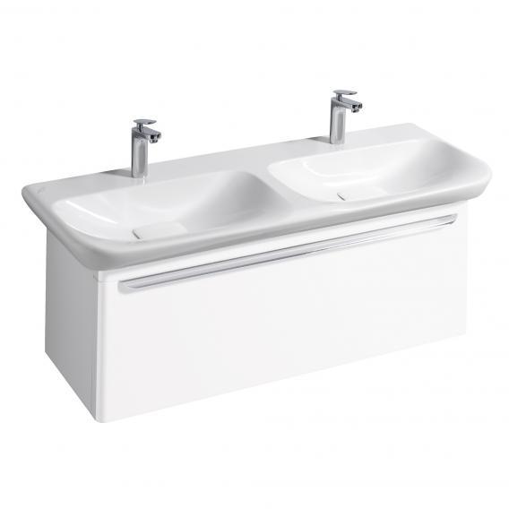 Geberit myDay LED-Waschtischunterschrank für Doppelwaschtisch mit 1 Auszug Front und Korpus weiß hochglanz