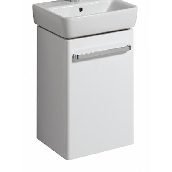 Geberit Renova Compact Handwaschbeckenunterschrank mit 1 Tür Front weiß hochglanz / Korpus weiß matt