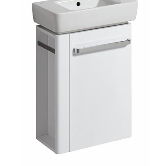 Geberit Renova Compact Handwaschbeckenunterschrank mit 1 Tür und Handtuchhalter Front weiß hochglanz / Korpus weiß matt