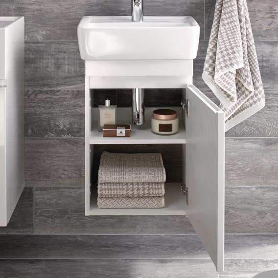 Geberit Renova Plan Handwaschbecken-Unterschrank Front und Korpus weiß hochglanz
