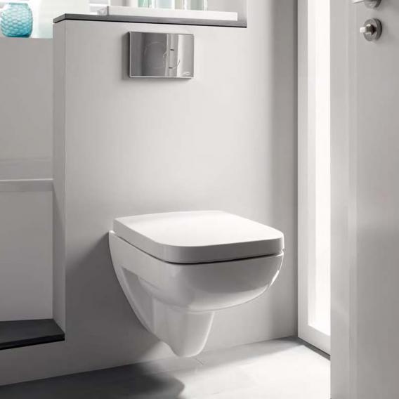 Geberit Renova Plan Tiefspül-WC, wandhängend mit Spülrand, weiß