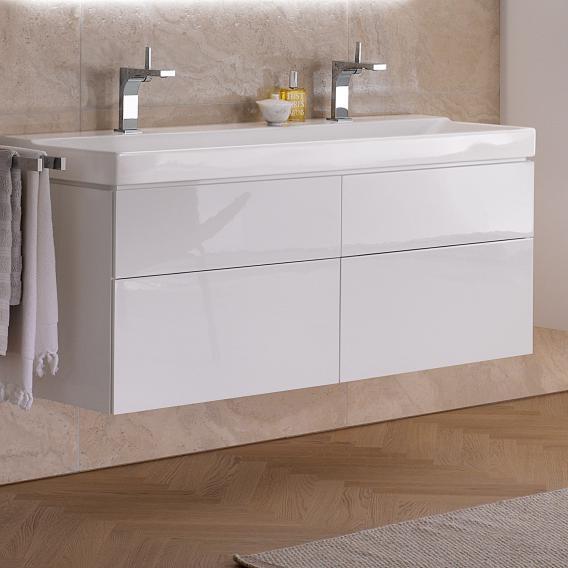 Geberit Xeno² Waschtischunterschrank für Doppelwaschtisch mit 4 Auszügen Front weiß hochglanz/Korpus weiß hochglanz