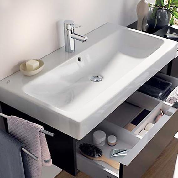 keramag icon waschtisch wei mit keratect mit 1 hahnloch mit berlauf 124075600 reuter. Black Bedroom Furniture Sets. Home Design Ideas