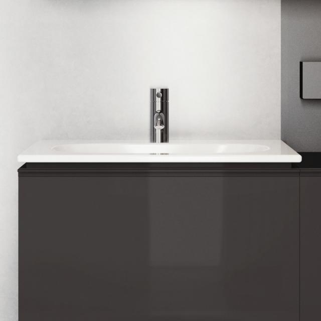 Geberit Acanto Möbel-Waschtisch Slim weiß, mit KeraTect, mit 1 Hahnloch