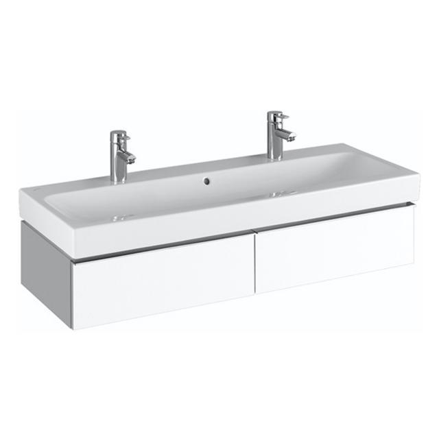 Geberit iCon Waschtischunterschrank für Doppelwaschtisch mit 2 Auszügen Front und Korpus Alpin hochglanz