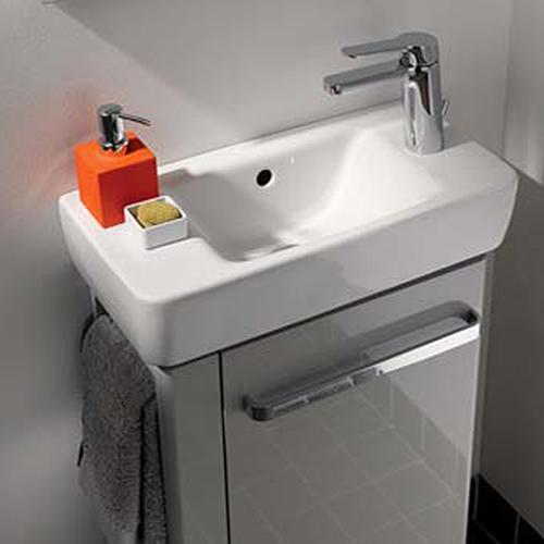 Geberit Renova Compact Handwaschbecken mit Hahnloch rechts weiß mit Keratect