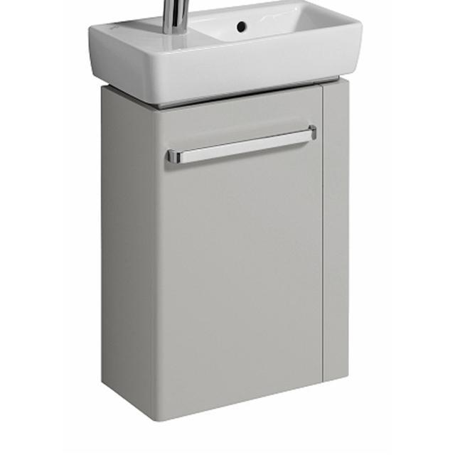 Geberit Renova Compact Handwaschbeckenunterschrank mit 1 Tür und Handtuchhalter Front hellgrau hochglanz / Korpus hellgrau matt
