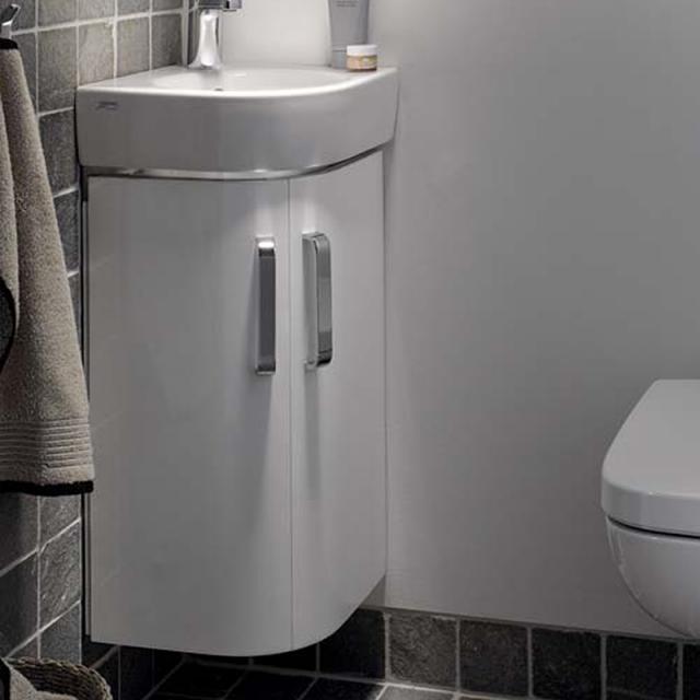 Geberit Renova Compact Waschtischunterschrank für Eckhandwaschbecken mit 2 Türen Front weiß hochglanz / Korpus weiß matt