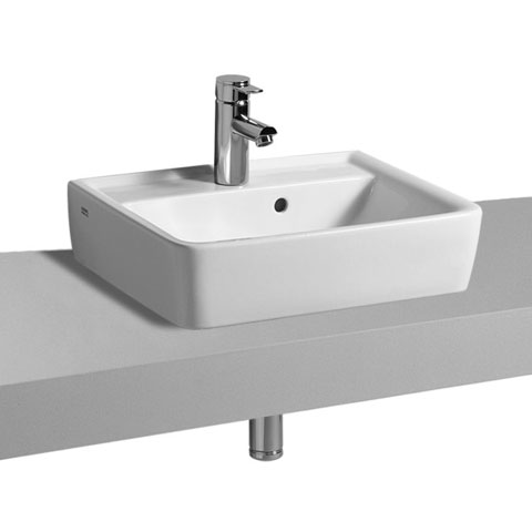 Geberit Renova Plan Aufsatz-Handwaschbecken weiß, mit KeraTect