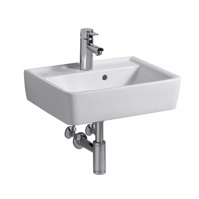 Geberit Renova Plan Handwaschbecken weiß, mit 1 Hahnloch, mit Überlauf