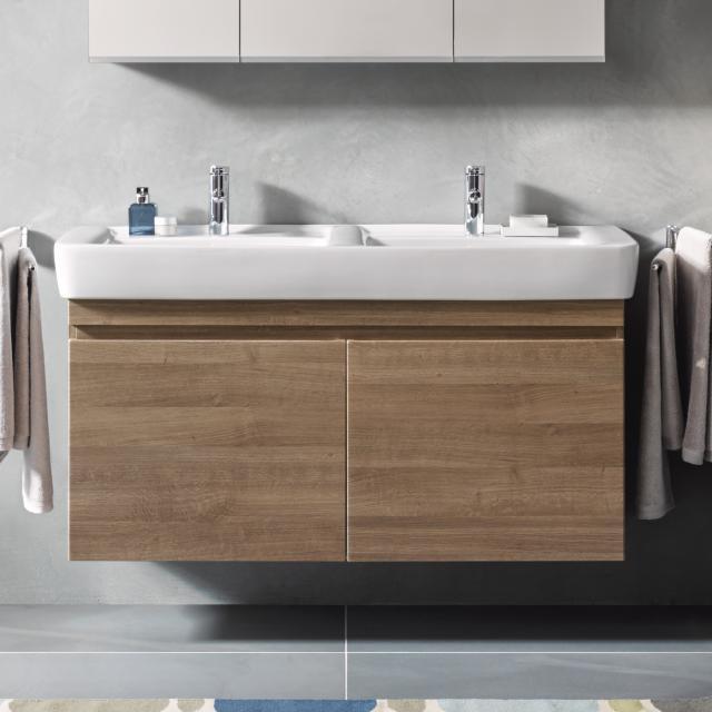 Geberit Renova Plan Waschtischunterschrank für Doppelwaschtisch mit 2 Auszügen Front und Korpus eiche natur dunkel