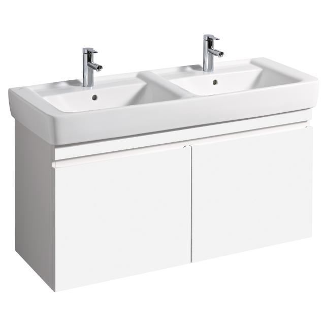 Geberit Renova Plan Waschtischunterschrank für Doppelwaschtisch mit 2 Auszügen Front und Korpus weiß hochglanz